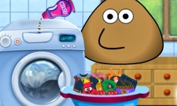 Pou Washing Clothes
