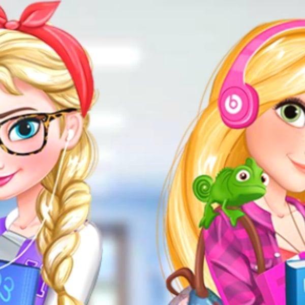 Elsa Y Rapunzel Chicas Universitarias Paisdelosjuegos